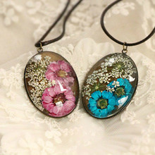DIY Retro Maxi Neckalce Handmade Natural Daisy Necklace Women Glass Cabochon Locket Real Dried Dry Flower Pendant Long Collares