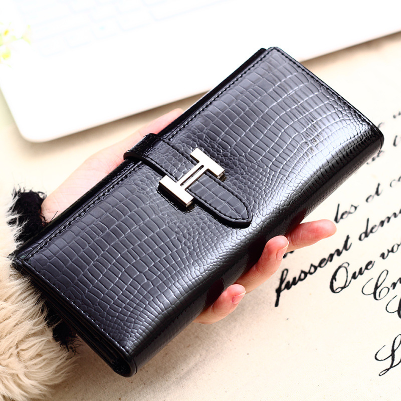 Hot Sale Fashion High Quality Women Wallet Genuine Leather Long Wallet Card Coin Purse Women Long Design Clutch Female Purse<br><br>Aliexpress