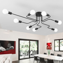 Vintage Ceiling Lights For Home Lighting Luminaire Multiple Rod Wrought Iron Ceiling Lamp E27 Bulb Living Room Lamparas De Techo(China)