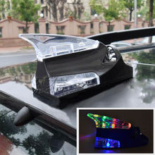BBQ@FUKA BLK Auto Roof Mount Spoiler Shark Fin Decor Aerial Wind Power Flashing LED Light Fit Universal Car