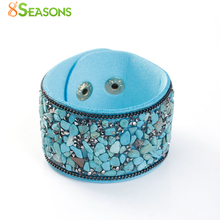 8SEASONS Hot Fashion Druzy Vintage Width Natural Stone Bracelets for Women Men Punk Leather Bohemian Beads Charm Gifts, 1 Piece