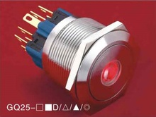 25mm Dot illuminated pushbutton switch 1NO1NC GQ25-11D/R/6V/S