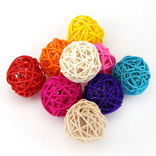 10pcs/lot 3cm Multicolor Decoration Rattan Ball Wedding Ornament Birthday Christmas Decor Party Home Table Decoration Kids Toys(China)