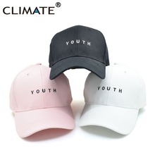 CLIMATE 2017 New Unisex Embroidery Youth Letter Baseball Caps Boys Girls Black Hot Pink Men Woman Snapback HipHop Youth Hat Caps