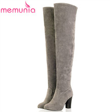 Plus size 34-45 Hot 2017 new high quality women boots suede over the knee boots women high heels autumn winter thigh high boots