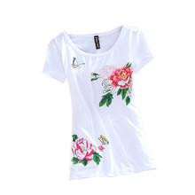 Fashion Embroidery Flower T Shirt Women Clothes Summer Elegant Tops Tee Vintage Blusa Ladies T-Shirt Casual White Camiseta Mujer
