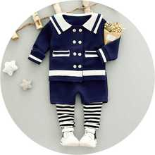 2017 Little girl fall new casual suit baby baby navy wind jacket + pants suit 0-4 year old girl clothes