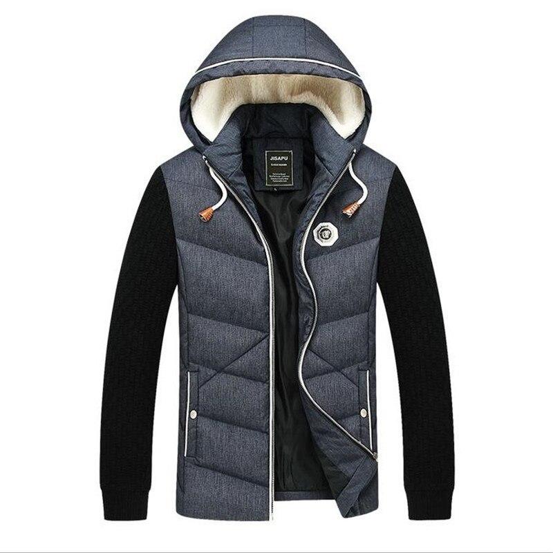 M- 5XL Knitted Sleeve Winter Jackets Men Patchwork Stand Collar Mens Coats Thick Parka Man Hooded Jacket Big Size 4XL  CM587Îäåæäà è àêñåññóàðû<br><br>