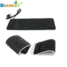CEL Portable USB Mini Flexible Silicone PC Keyboard Foldable for Laptop Notebook Black NOV30