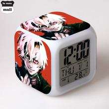 New cartoon Tokyo Ghoul 7 Color Flash Alarm Clock Kids Bedroom Night Light Clocks Watch Color Changing reloj despertador reveil(China)