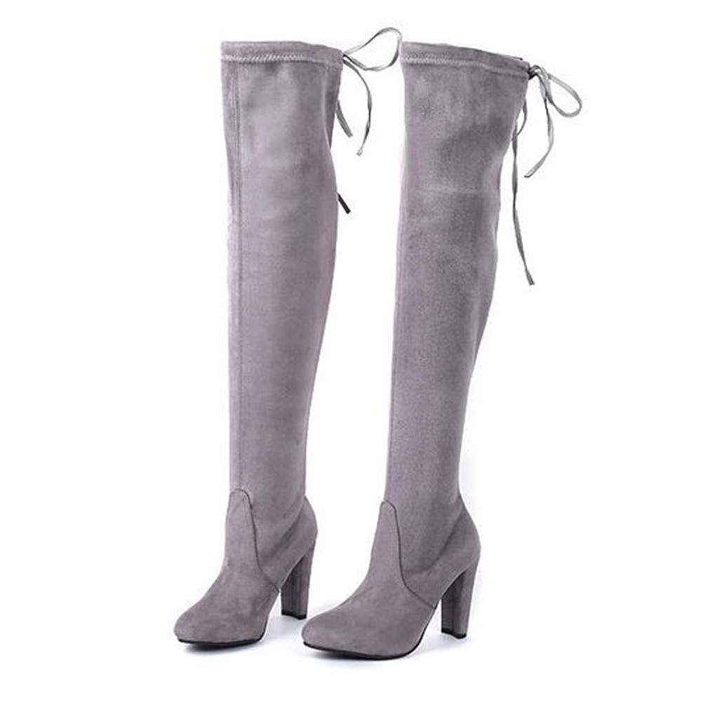 Women Drawstring Thigh High Stretchy Snug Block Heel Boots Suede Over Knee Boot Sexy High Heeled Martin Boot<br>