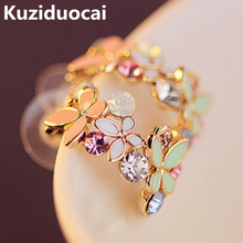 2017 New Hot !!! Fashion Fine Jewelry Gold Rhinestone Colorful Flowers Dazzling C-type Butterfly Stud Earrings For Women E-104