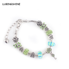 LUBINGSHINE Fashion Green Crystal Beads Bracelets Heart Key Charms Shamballa Bangles for Women Christmas Gift Jewelry JJAL B691