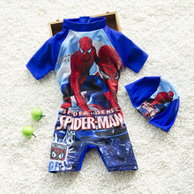 Boys Cartoon Swimsuits With Hat New 2017 Boys One-Piece Sports Swimming Suits Children Kids Swimwear Bathing Suits K46-CGR1(China)