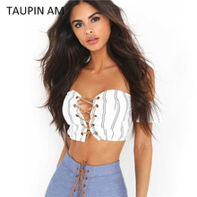 Sexy stripe shirts off shoulder crop tops women 2017 Lace up hollow out strapless party tank tops Women summer crop top beach