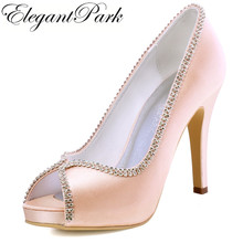 Woman Shoes Wedding bridal High heel platform Blush Pink Satin female bridesmaid Party evening Pumps Purple Burgundy EP11083(China)