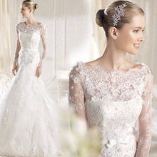 Luxury French lace long sleeve the princess bride fish tail wedding dress 2016 new word shoulder wedding dress