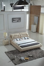 King size soft bed genuine leather bed 0414-801
