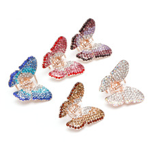Fashion Butterfly Claw Women Girl Crystal Rhinestone Hair Clip Clamp Jaw Hairpin(China)