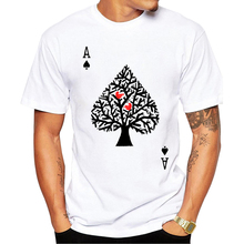 2017 Hot fashion Men t-shirt summer latest printed design Ace of spade t-shirt High quality white tops funny poker t-shirt