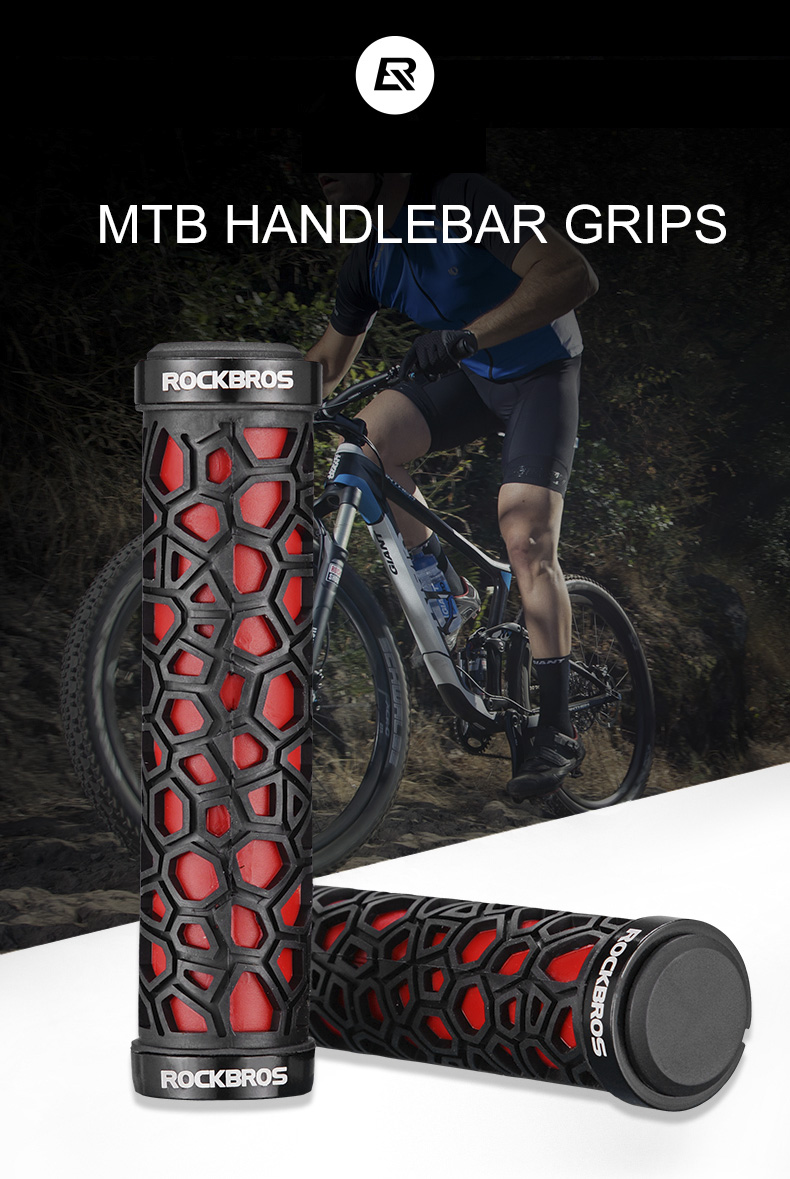 RockBros Cycling Bicycle Handlebar Grips Double Locking Non-slip Grips Red
