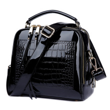 famous brand women real patent leather handbags Crocodile Fashion design shopper tote bag female luxurious shoulder bags black