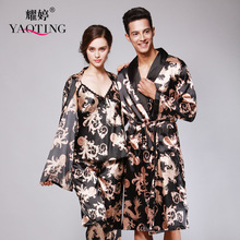2017 Men And Women Homewear Summer Chinese Dragon Pattern Nightgown Folk Style Large Size Silk Pajama Sets Black Silky Bathrobes