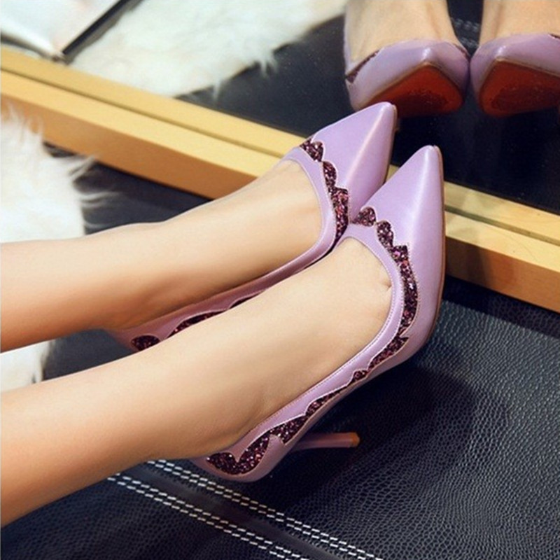 Ladies sexy glitter (4 to 9) soft sheepskin genuine leather pointed toe high heeled wedding shoes in deep blue/white/purple<br><br>Aliexpress