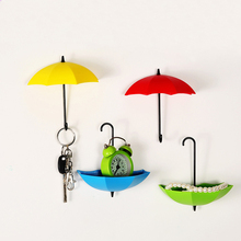 Delidge 3 pcs/set Umbrella Storage Hook Colorful Umbrella Shape Wall Hook Key Hair Pin Holder Home Organizer Decorative