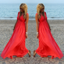 Buy New Style 2017 Summer Dress Women Sexy V-Neck Summer Dresses Boho Casual Loose Chiffon Beach Long Maxi Chiffon Dress Red Vestido for $14.90 in AliExpress store