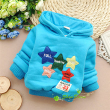 Winter Baby Boys and Girls Lambs wool fleece Lovely patch of stars hooded Thick warm Hoodies,V1589