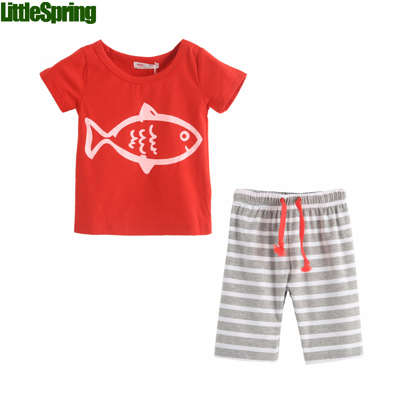 2017 new summer cotton boys Fish cartoon images clothing sets kids girls and boys t shirt+short pant two pieces clothing set<br><br>Aliexpress
