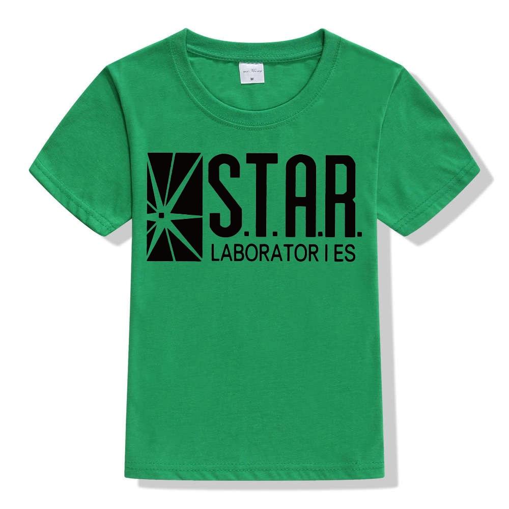 3-10Y Kids Black Star Lab Letter Print Short Sleeve T Shirt Boys Novelty T-shirt Girls Tshirt Clothes Anime Comics The Flash 14