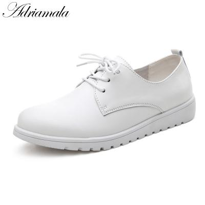 Adriamala Women Leather Retro Shoes Autumn Spring Fashion Lace Up Casual Shoes Brand Designer Ladies Low Heels Shoes 2018