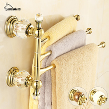 Antique Solid Brass Gold Towel Rack Crystal&Diamond Towel Bar 3 Rails 41CM Wall Mounted Towel Racks 180 Degree Bathroom Bar HW(China)