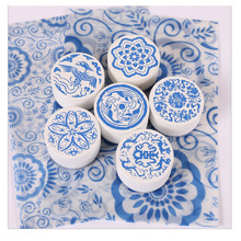 CCINEE 6 Styles Flower Wood Stamp 4cmx4cmx2.5cm Size Used For Gift Decoration Wooden Rubber Stamp