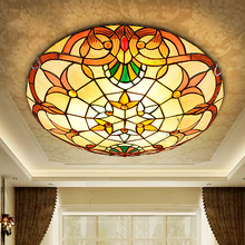 European Baroque Tiffany stained glass Ceiling Light Pastoral Round Glass Lampshade lamparas de techo abajur 110-240V(China)