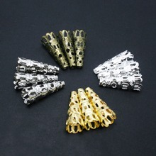 hot- 100PCs Gold /Silver /Bronze/Rhodium Plated Nail Spacers Beads Caps 8x22mm for DIY Necklace Tassel Earrings
