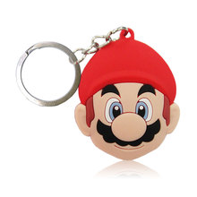 1PCS Super Mario Cartoon Keychains Soft PVC Pendants+Keyrings Kids Gift Party Favors Key Cover Bag Straps Decor Accessories(China)