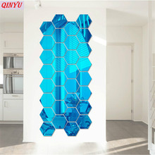 8cm 12pcs 5colors 3D DIY Creative Hexagon Office Home Living Room Plastic Wall Stickers Decorations 6ZCF003(China)