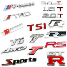 Excellent 3D Metal Sports TRD RS GTR TSI Rline SLINE RR 4WD V6 Emblem Car Truck Motor Sticker Auto Decal Cool Decal for All Car
