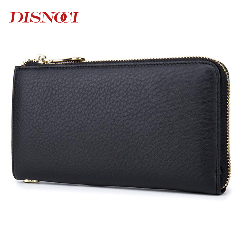 DISNOCI New Fashion Mens Wallets Genuine Leather Men Clutch Bags Top Cowhide Male Purses Long Zipper Men Card Holder<br>