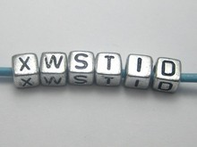 250 Assorted Silver Metallic Acrylic Alphabet Letter Cube Pony Beads 6X6mm(China)