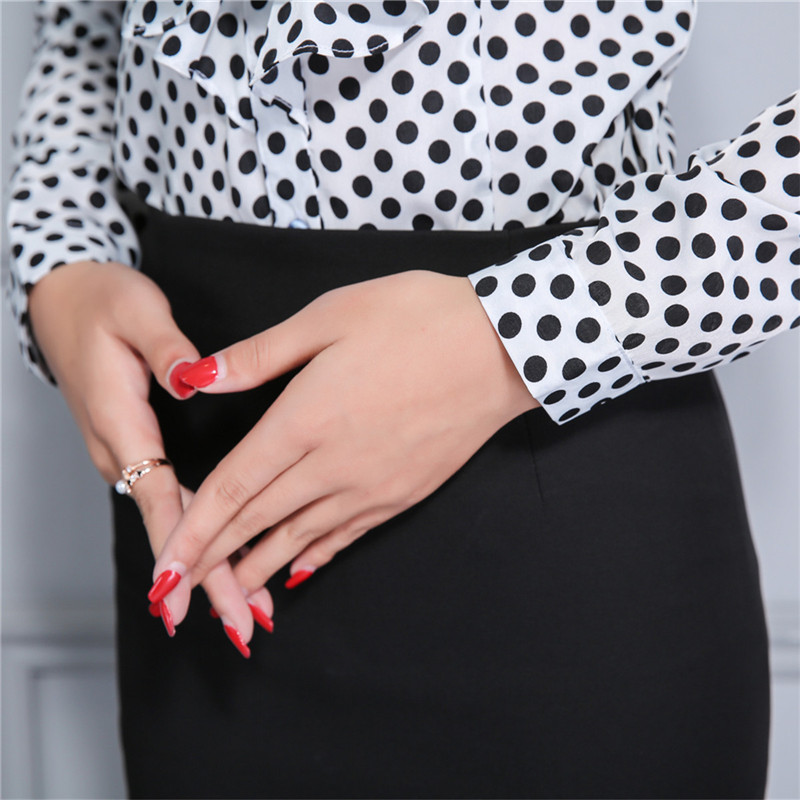 Women Career Fitted Polka Dot Lace Tops Ruffle High Neck Long Sleeve Shirt Blouse Slim Fit Button Down Chiffon Blouses