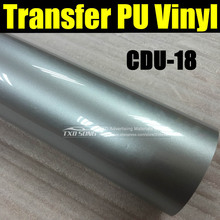 CDU-18 SILVER heat transfer pu film with top quality for clothes transfer with size:50X100CM/LOT (1 Yard) by free shipping(China)