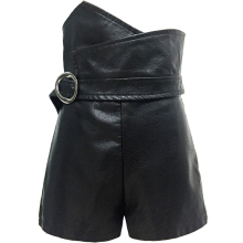 PU Leather High Waist Shorts For Women Irregular Slim Black With Belt Winter Women's Shorts Fashion Casual(China)