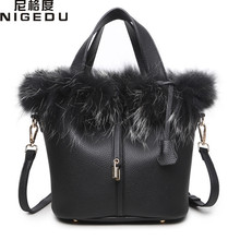 NIGEDU brand luxury Rabbit fur Women handbag female fashion designer bucket shoulder bags Quality PU leather lock Women's Totes(China)