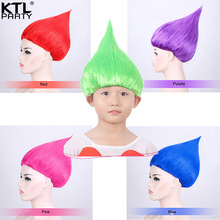 KTLPARTY 10pcs/lot Trolls Poppy Wig For children and adult kids Party Cosplay wig Trolls Wig Birthday Party Wigs 9 Colors(China)