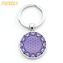 TAFREE religious women fashion mandala flower purse bag pendant keychain buddhist zen charms key chain ring holder jewelry CT425