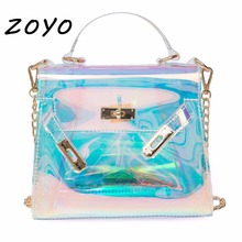 Event Stadium Approved Clear Tote Bag Luxury Handbags Women Bags Designer Holographic Crossbody Bags Transparent Shoulder Bags(China)